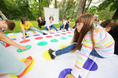 Teens play game at International Festival of Cultures Stock Photography