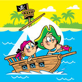 Teens play pirates. The illustration shows the children play in the visionary pirates. They swim on the military  ship in the sea. Illustration done in cartoon Royalty Free Stock Photo