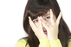 Teens Portrait. Asian teens portrait cover her face Stock Image