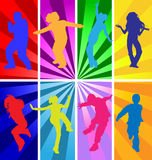 Dancing teens kids silhouettes on retro background silhouette dance party girl boy dancer modern dance contemporary street school  Stock Image