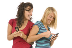 Teens Sharing Text Messages Revised Stock Photography