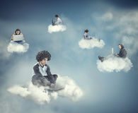 Teens sitting on a cloud stock photos