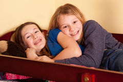 Teens at sleepover  Royalty Free Stock Photos