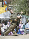 Teens soldiers dancing royalty free stock photography