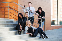 Teens on the steps Royalty Free Stock Images