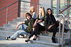 Teens on the steps Stock Images