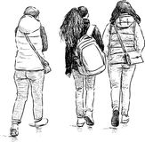 Teens on a stroll royalty free illustration