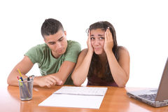 Teens studying - Stressed girl Royalty Free Stock Images