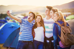 Teens at summer festival Stock Photo