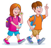 Teens Taking A Hike. Cartoon illustration of a teenage girl and boy walking with backpacks on and carrying water bottles. The girl is also eating a granola bar Royalty Free Stock Image