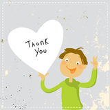 Teens thank you for help, love card. Teens thank you for help vector card. Boy holding a heart, sending love. Hand drawing on paper, doodle, sketch style Stock Photography