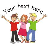 Teens. Three cheerful teens - place for text Stock Images
