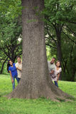 Teens with tree in park Royalty Free Stock Image
