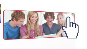 Teens using a digital device Stock Image