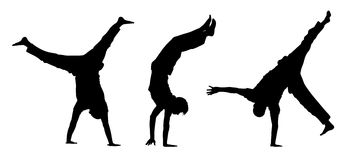 Teens walking on hands silhouettes. 3 black silhouettes of teens walking on their hands and making acrobatic figures Vector Illustration