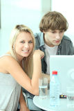 Teens with water bottle Royalty Free Stock Photo