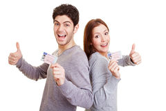 Teens With Driving License Stock Photo