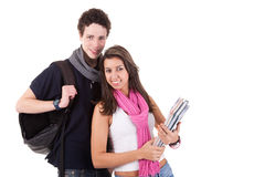 Teens (young man and woman), going to school, Royalty Free Stock Photos