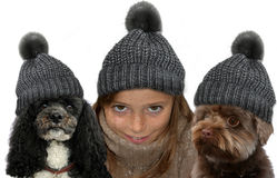 Teeny and dogs in partner look. Teenager girl with two dogs in partner look. All wearing grey bobble hats Stock Photo