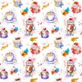 Teeparty, die Muster wiederholt Kuchen des kleinen Kuchens, Tee, Kaffeetasse Vektor Abbildung