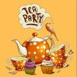 Teepartyeinladungskarte mit einem kleinen Kuchen und einem Topf Stockbilder