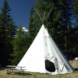 Teepee. For rent at a campground in British Columbia, Canada royalty free stock photo