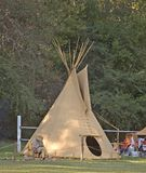 Teepee. A teepee in a native american display in a park stock images