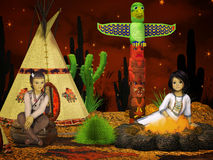 Дети коренного американца, teepee на ноче Стоковые Фотографии RF