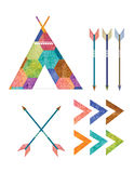 Teepee and Arrows. A set with a teepee and arrows in a colorful bohemian patten Stock Photography