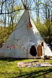 A teepee being used for shelter Stock Images