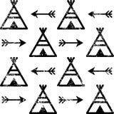 Teepee bezszwowy wzór i strzała, azteka stylowy Indiański powtórkowy projekt, rodowity amerykanin tapeta Ilustracja Wektor