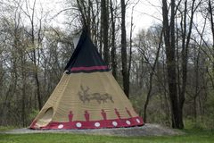 Teepee campsite at rock bridge nature preserve. A large teepee campsite at the edge of the woods in central Ohio near the Hocking Hills area at Rock Bridge stock photography