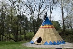 Teepee campsite at rock bridge nature preserve. A large teepee campsite at the edge of the woods in central Ohio near the Hocking Hills area at Rock Bridge royalty free stock photo
