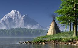 Teepee by a Lake vector illustration