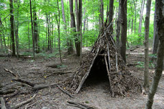 TeePee. Made of branches, twigs and leaves in the woods Royalty Free Stock Image