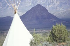 Teepee and mountain in southern UT Royalty Free Stock Photography