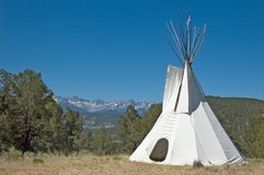 Teepee and mountains Royalty Free Stock Photography