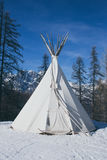 Teepee in the snow vintage Stock Image