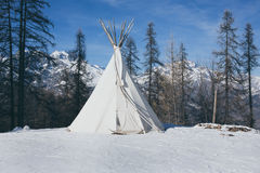 Teepee in the snow vintage Royalty Free Stock Photos