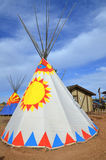 Teepee. WILLIAMS ARIZONA APRIL 15: Teepee with designs in the fields on april 15 2014 in Williams Arizona.A tipi also tepee and teepee is a conical tent Stock Image