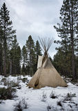 Teepee in Winter. Native American teepee in snowy landscape Royalty Free Stock Images