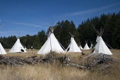 Teepees. Used as shelter. Taken at a summer camp in the San Juan Islands Stock Image