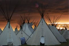 Teepees at Sunset. Native American village at the Pendleton Round Up largest encampent of teepees in North-America stock image