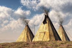 teepees tre royaltyfri illustrationer