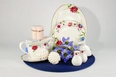 Teesatz im Dekor Stockbild