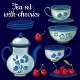 Teesatz Porzellan auf einem blauen Hintergrund vektor abbildung