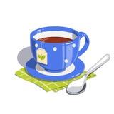 Teeschale und -löffel Stockbild