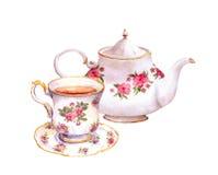 Teeschale und Teekanne mit Blumen watercolor Stockfotos
