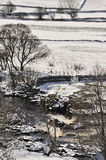 Teesdale winter scene, Northern England. A winter scene of the river Tees and rapids, and the surrounding countryside, in Northern England. Taken in a harsh Royalty Free Stock Photography