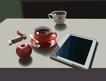 Teetassen und Tablette Lizenzfreies Stockfoto